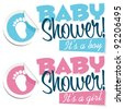 Baby Shower with Foot Sticker - stock vector