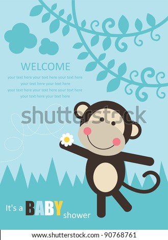 baby shower with fun monkey. vector illustration - stock vector