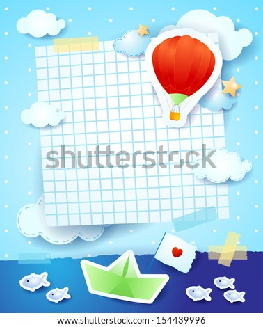 Baby shower with paper boat and balloon, vector - stock vector