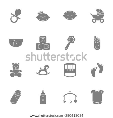 Baby silhouette icons set graphic illustration design - stock vector