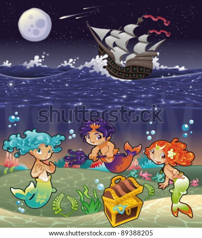 Baby Sirens and Baby Triton under the sea. Funny cartoon and vector illustration. - stock vector