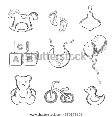 Baby sketched icons with rocking horse, duck, spinning top, abc blocks, bib, balloons, tricycle and footprints. Sketch style - stock vector