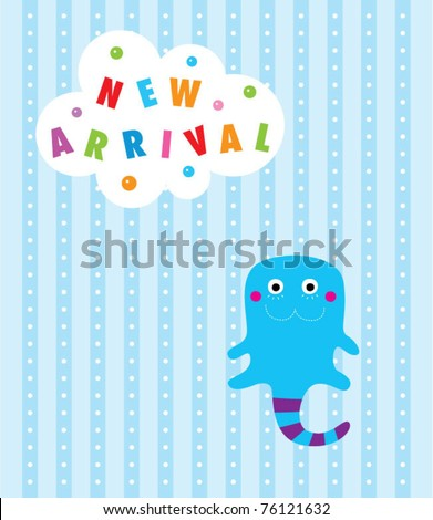 baby snake arrival card - stock vector
