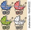 Baby Stroller: Retro baby stroller in 4 versions. No transparency and gradients used. - stock vector