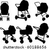 Baby strollers silhouettes - stock photo