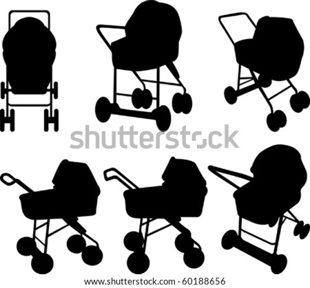 Baby strollers silhouettes - stock vector