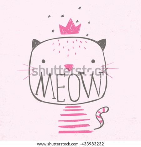 baby tee print design with cute cat illustration and typo - stock vector