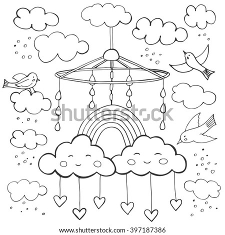 Baby theme. Hand drawn sketch vector illustration. Cute background for children's room. - stock vector
