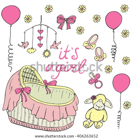 Baby theme. It's a girl card. Hand drawn sketch vector illustration. Cute background for children's room. - stock vector