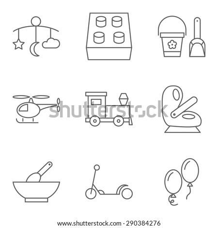 Baby thin line related vector icon for web and mobile applications. Set includes - bed carousel, building kit, pail and shovel, helicopter, baby seat, food, scooter, air ballon. Logo, pictogram, icon. - stock vector