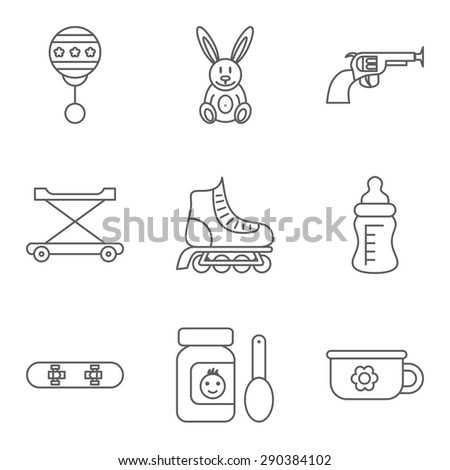 Baby thin line related vector icon set for web and mobile applications. Set includes - rattle, rabbit, gun, walker, roller skateboard, feeding bottle, food, skateboard, potty. Logo, pictogram, icon. - stock vector