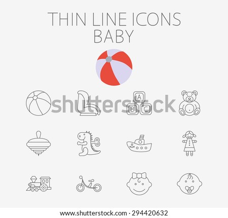 Baby thin line vector icon set for web and mobile applications. Set includes - baby boy, girl, ball, car seat, ship, block, bear, whirligig, dinosaur, doll, train, bicycle. Logo, pictogram. - stock vector