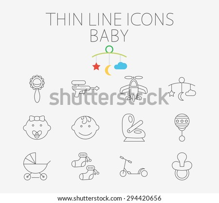 Baby thin line vector icon set for web and mobile applications. Set includes - gun, car seat, nipple, airplane, rattle, crib toy, boy, baby girl, pram, socks, scooter. Pictogram, infographic element. - stock vector