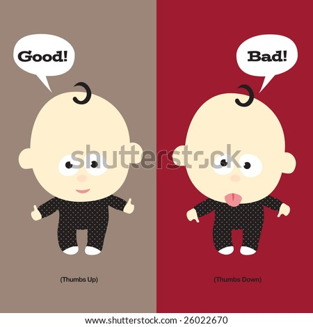 Baby thumbs up and thumbs down - stock vector