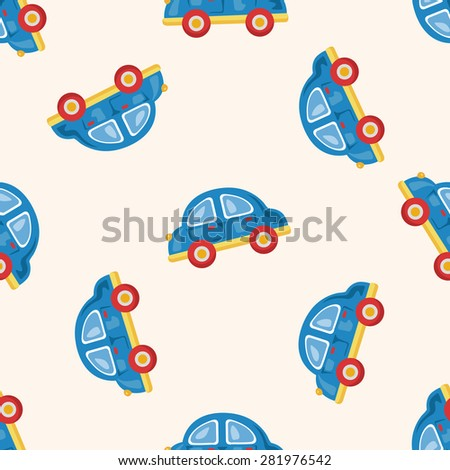 baby toy car , cartoon seamless pattern background - stock vector