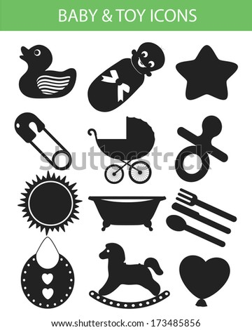 Baby & Toy Icons,Black version,vector - stock vector