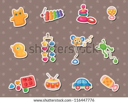 baby toy stickers - stock vector