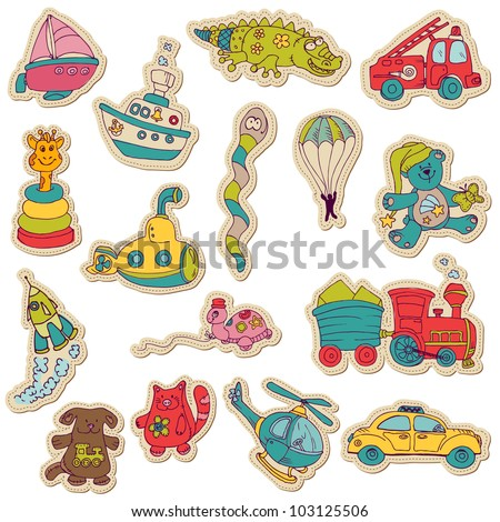 Baby Toys Stickers - for design and scrapbook - in vector - stock vector