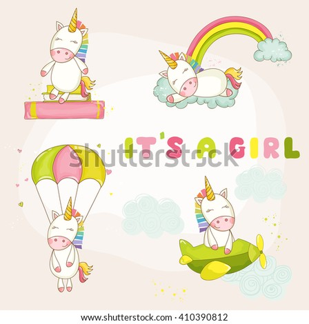 Baby Unicorn Set - Baby Shower or Arrival Card - in vector - stock vector