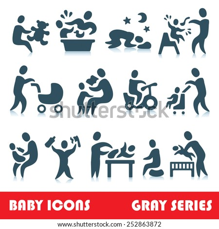 Baby vector icons, gray series - stock vector