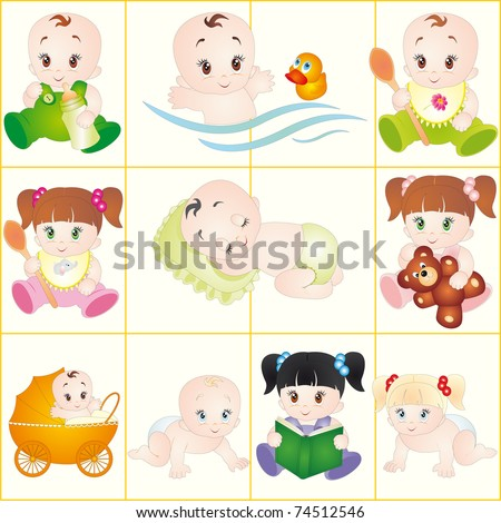 Baby. Vector set - stock vector