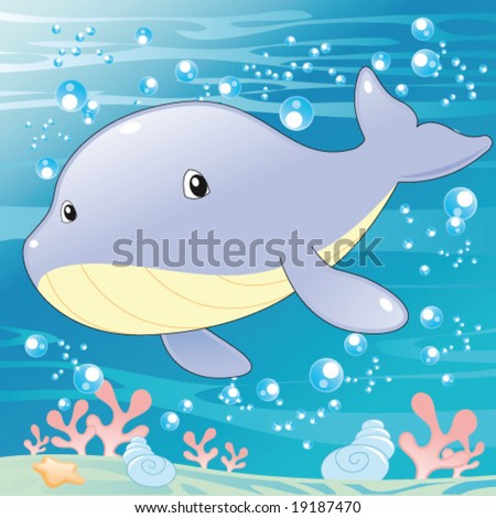 Baby Whale. Funny cartoon and vector illustration. Isolated character