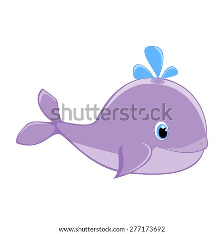 Baby whale with water splash vector illustration Cute cartoon whale vector Sea mammal vector Sea life theme Happy girl whale Sea animal Girlish cartoon character EPS8 great for kids t shirt stamp  - stock vector