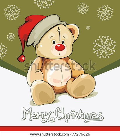 Baby winter background with Funny young Teddy bear. Merry Christmas and a Happy New-Year's greeting sweet postcard. Vector illustration. - stock vector