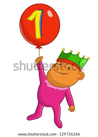 baby with balloon first birthday cartoon,vector cartoon - stock vector
