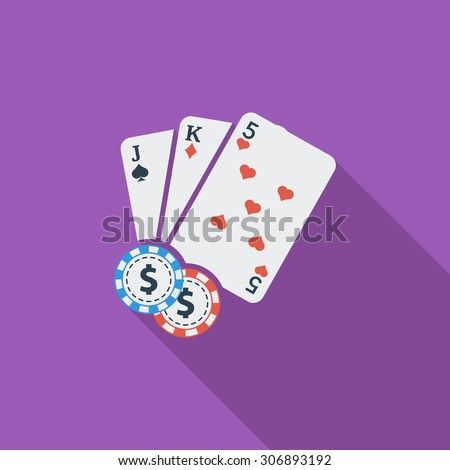 Baccarat icon. Flat vector related icon with long shadow for web and mobile applications. It can be used as - logo, pictogram, icon, infographic element. Vector Illustration. - stock vector