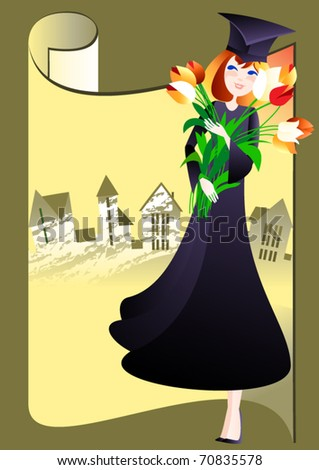 Bachelor. Girl in a robe and hat holding bachelor's big bouquet of  tulips - stock vector