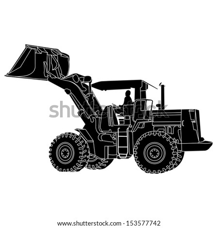 Back Hoe White outline Silhouette Vector - stock vector