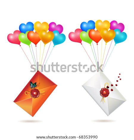 Back of envelope with seal raised by balloons, for Valentine's day, isolated on white background, vector illustration