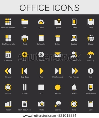 Back office services and documents tools icons. Modern vector pictograms