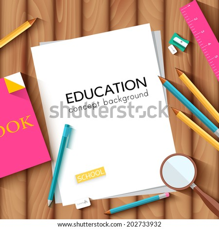 back to school abstract background of flat notebook style concept. Vector illustration design - stock vector