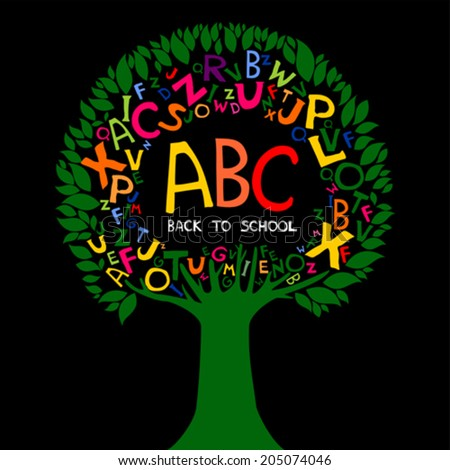 Back to school. Abstract black background with colorful letters. Vector illustration.  - stock vector