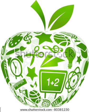 back to school - apple with education icons - stock vector