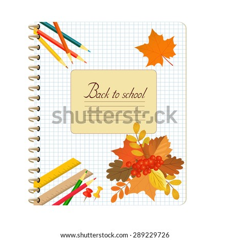 Back to school autumn background - stock vector