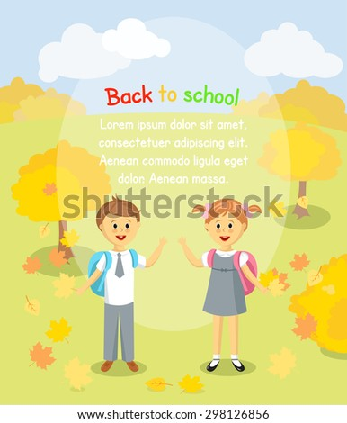 Back to school background. Boy and girl with maple leaves standing outside - stock vector