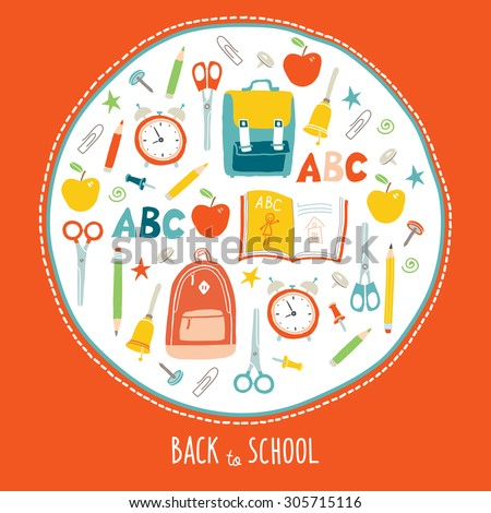 Back to school background. Card concept. Poster design. Set of funny hand drawn school icons. Vector clip art eps 10 illustration in flat style. - stock vector