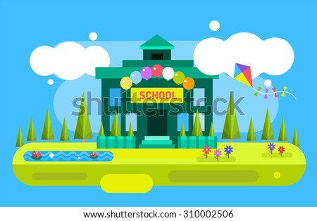 Back to school background. Cute vector cartoon school building illustration. School uniform, garden nature, outdoor and university building, preschool and education, small kids, teens, students