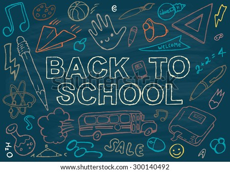 Back to school background design template, big set of icons, hand drawn vector illustration.