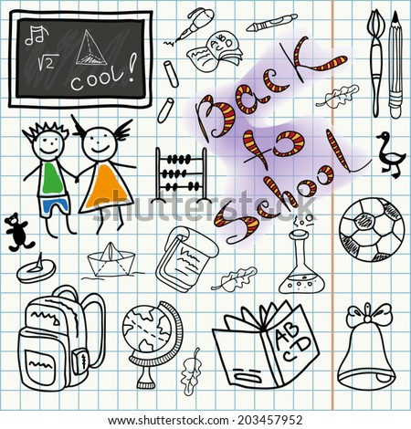 Back to school background, doodle education icons set, isolated elements, hand drawn sketch collection, vector illustration. - stock vector