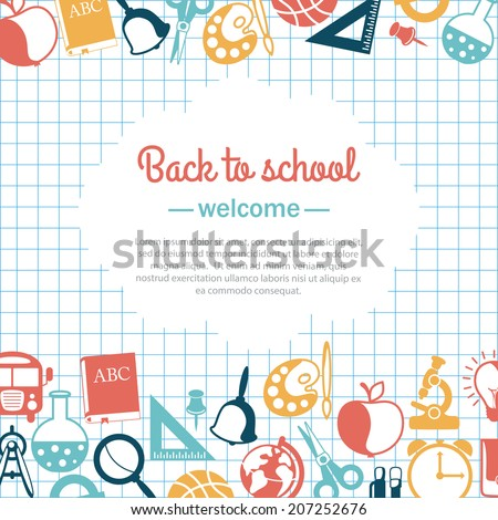 back to school background for school - stock vector