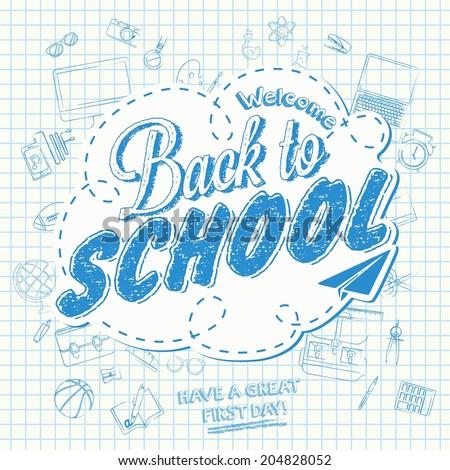 Back To School background of school supplies - stock vector