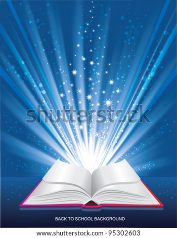 Back to SCHOOL background.  Open book with shine rays. - stock vector