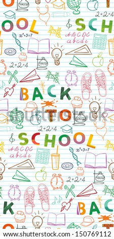 Back to school background, pattern, set of school related doodle objects - stock vector