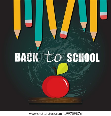 Back to school background, vector illustration - stock vector