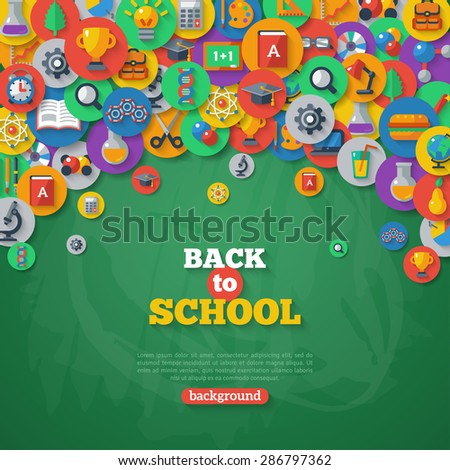Back to School Background. Vector Illustration. Flat School Icons in Circles on Chalkboard Textured Backdrop. Education Concept. Arts and Science. - stock vector