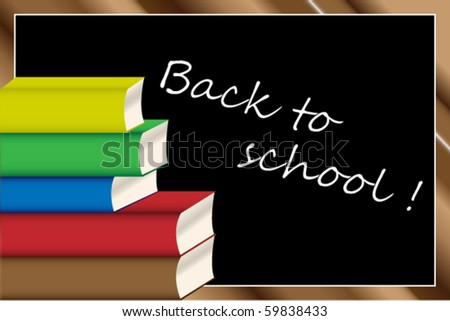 Back to school background with color books - stock vector